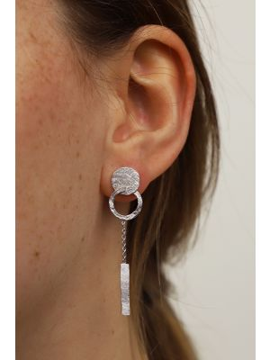 Zilveren ONNO oorsteker met rhodium | OS0440RH