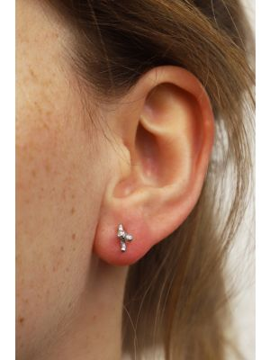 Zilveren ONNO oorsteker met rhodium | OS0442RH