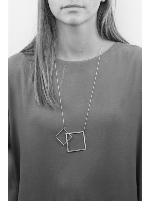 Zilveren ONNO ketting met rhodium  | K0307RH | small image