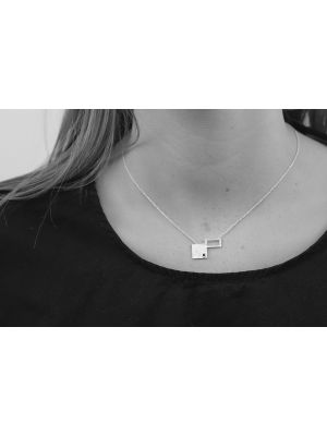 Zilveren ONNO ketting met rhodium  | K0310RH | small image