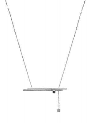 Zilveren ONNO ketting met rhodium  | K0311RH | small image