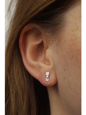 Zilveren ONNO oorsteker met rhodium | OS0436RH
