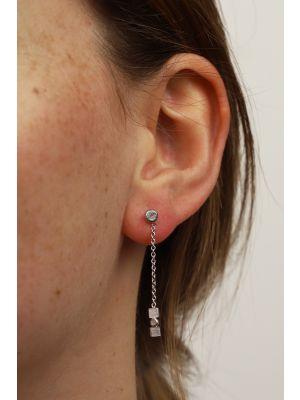 Zilveren ONNO oorsteker met rhodium | OS0437RH